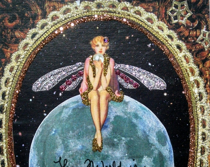 Pearl Fairy Handmade Card-Congratulations Card,Card for Framing,World,Oyster,Graduation card,New Job card,Earth,card for Traveler,Pearls