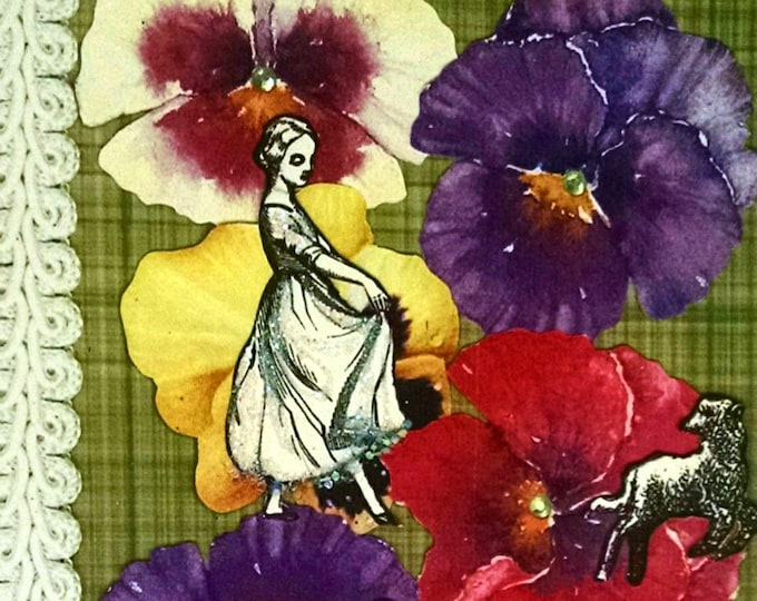 Spring Lamb Easter Card- Pansies, Vintage, Flowers, Lamb, Girl, Maiden, Lambs, Sheep, Pansy, CArd for her,kids card, Spring