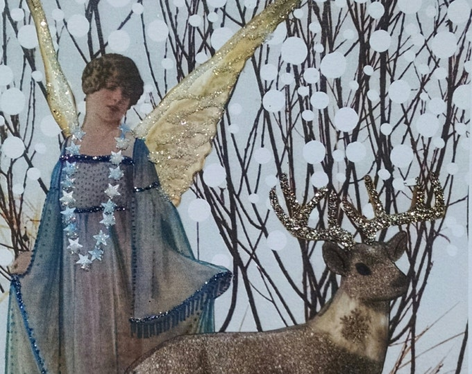 Christmas Angel with Deer- Fancy Handmade Embellished Holiday Card Snow Forest