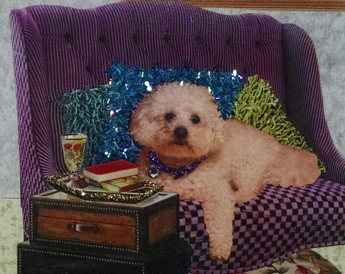 Poodle Card- Blank Inside, Purple, White Poodle, Throw Pillows, Designer, Books, Tea, Afternoon Tea, Stylist, Schnoodle, Glitter, Sparkle