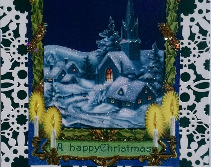 Christmas Church Card- Blank,Christmas Card,Snow,House,Christmas Card,Holiday,Winter,Stars,Happy,Candles,Midnight Mass,Holy,Silent,Night