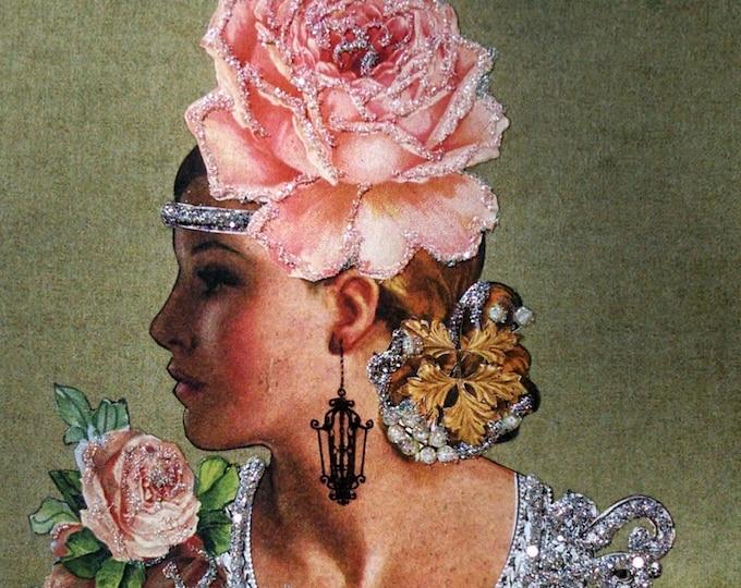 Pink Rose Card-PinkGlamor,Chandelier,Vintage Blonde Card,Engagement Card,Embellished Card,Glitter,Debutante, Vintage Beauty