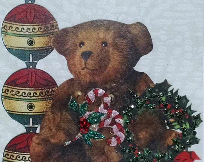 Teddy Bear Christmas Card- Holiday,Blank,Ornaments Candy Canes,Books,Wreath,Glitter,Holly,Toy,Child,
