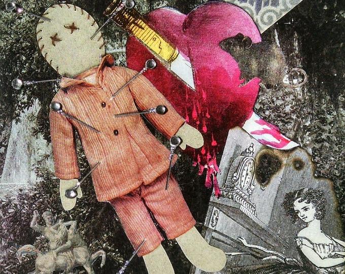 Voodoo Doll Card-Hoodooo,Anti-Valentine,Knife,Heart,Stabbed,Girl,Fire,Magic,Spells,Break Up,rhinestones