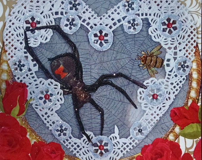 Black Widow Spider Card-Sparkle,Fancy,Hearts,Glitter,Valentines,Valentine's Day,Anti-Valentine,Doily,Red Roses,Spiders