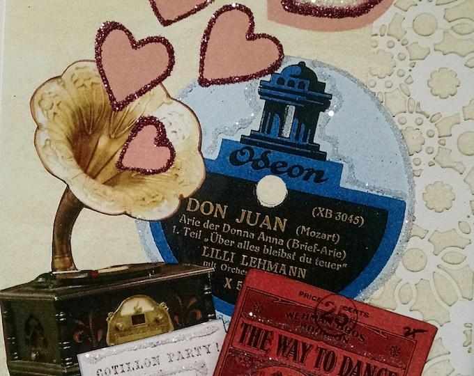 Music Valentine Card-Victrola,Vintage,Victorian,Pink,Sparkle,Fancy,Hearts,Don Juan,Ballroom,Dance,Glitter,Valentines,Valentine's Day