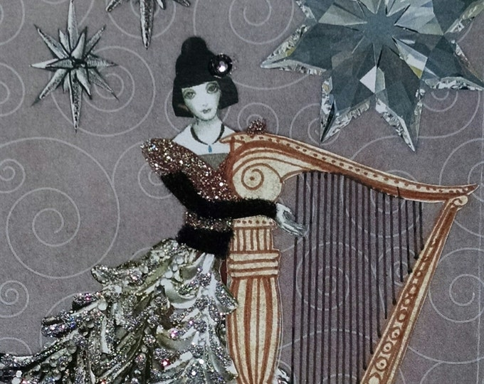 Harpist Card- Harp,Lady,Glamour, Silver Stars,Music, Silver,Musician,Christmas,Holiday,Stars,Silver,Purple,Holidays,Fashion,Handmade,Collage