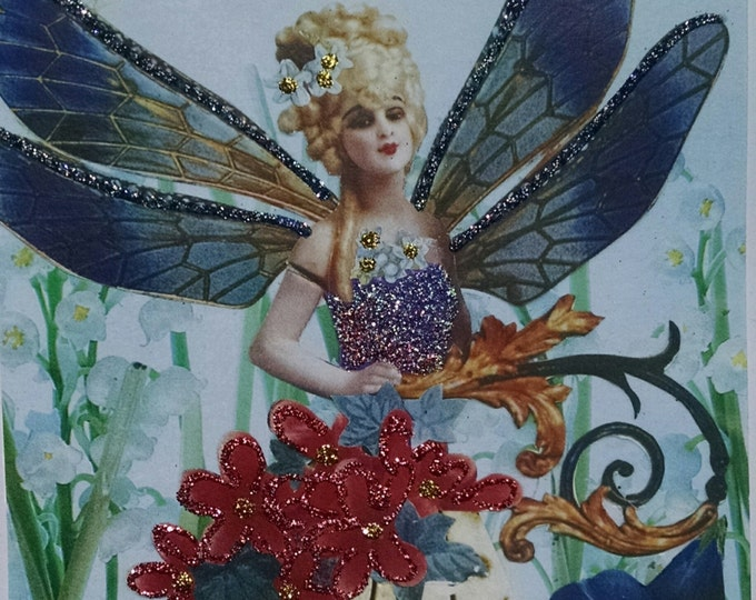Blonde Fairy Greeting Card- Fairies, Doll, Blue, Flowers
