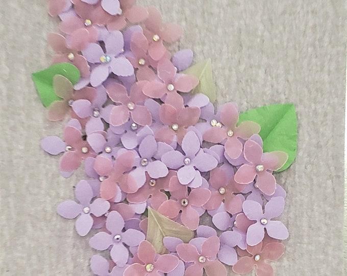 Handmade Paper Lilacs Card,Elegant Luxury Card, Embellished Card