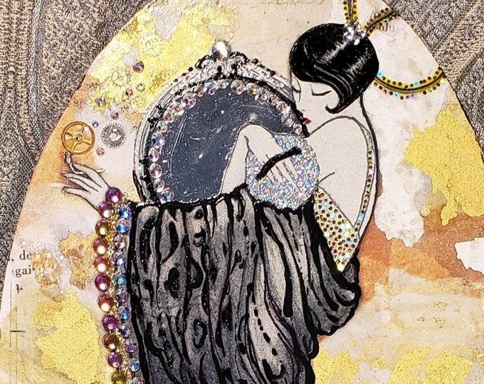 Heavily Embellished Glamorous Flapper Luxury Art Print-Actress,Twenties,Makeup,Fancy,Fashion,Glamour Girl,Stylist,Fashion Design,Fashionista