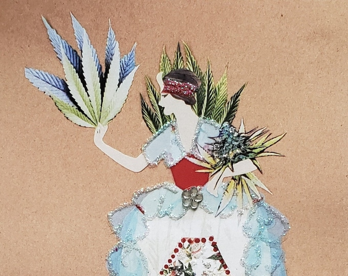 Fancy MaryJane Greeting Card #1-Weed,Marijuana,Cannabis,Friendship,Fashion,Flapper,Embellished,Birthday Card
