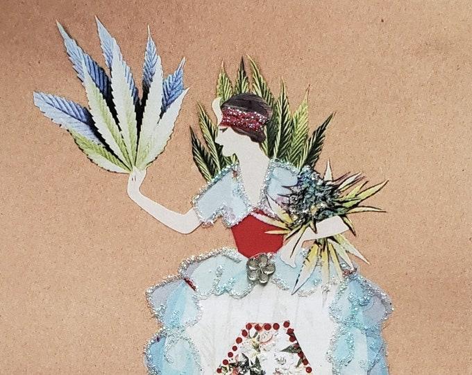 Fancy MaryJane Greeting Card #1-Weed,Marijuana,Cannabis,Friendship,Fashion,Flapper,Embellished,Birthday Card