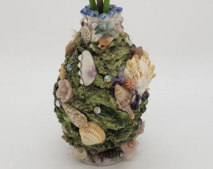 Bespoke Elfinware Vase, Tiny Vintage Vase, Applied Flowers, Seashells