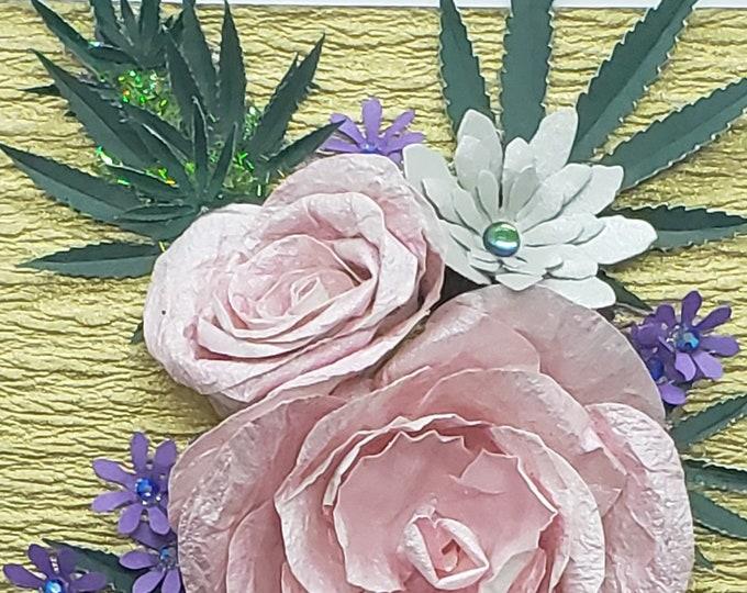 Handmade Paper Marijuana Pink Roses Card,Weed Card,