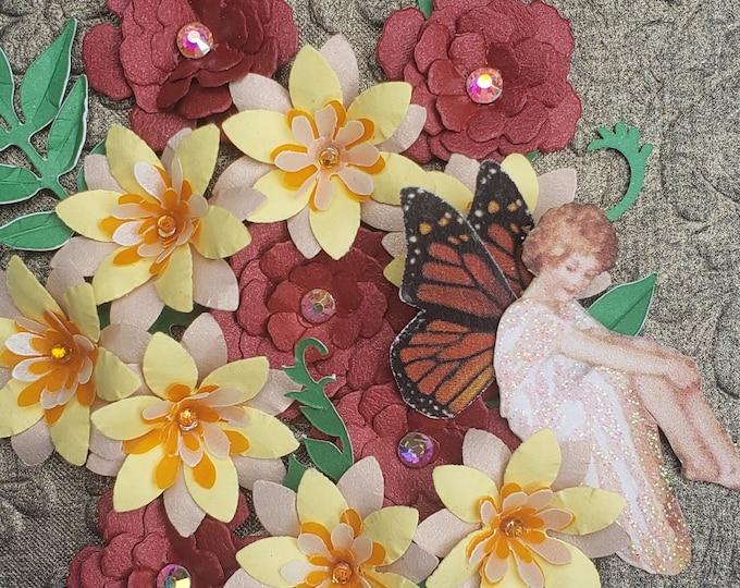 Handmade Fall Flowers Fairy Card,Elegant card,wedding card,handcrafted card,paper flowers,autumn birthday card,anniversary card