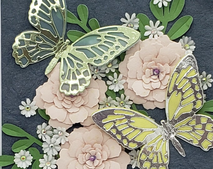 Handmade Paper Butterfly Card-Elegant Luxury Card, Flower card