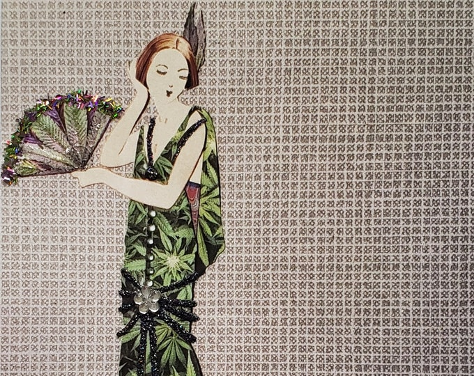 Fancy MaryJane Greeting Card #3-Weed,Marijuana,Cannabis,Friendship,Fashion,Flapper,Embellished,Birthday Card