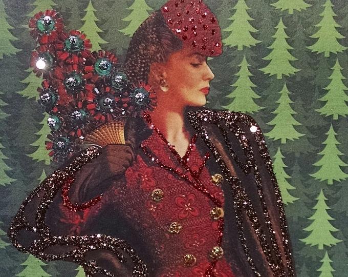 Holiday Mink Coat- Fancy Handmade Embellished Holiday Card Vintage Fur Cards for Her