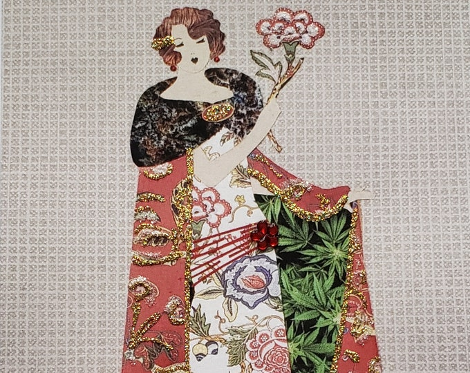 Fancy MaryJane Greeting Card #2-Weed,Marijuana,Cannabis,Friendship,Fashion,Flapper,Embellished,Birthday Card