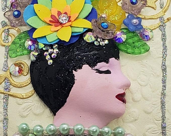 Embellished Doll Face Art, Small Art, Embellished Art