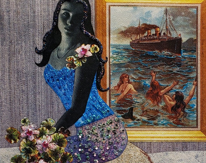 Pouty Mermaid Card- Mermaids, ocean,flowers,vintage, collage,small art