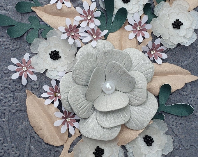 Handmade Paper Flowers Blank Card,Elegant Luxury Card,Birthday card