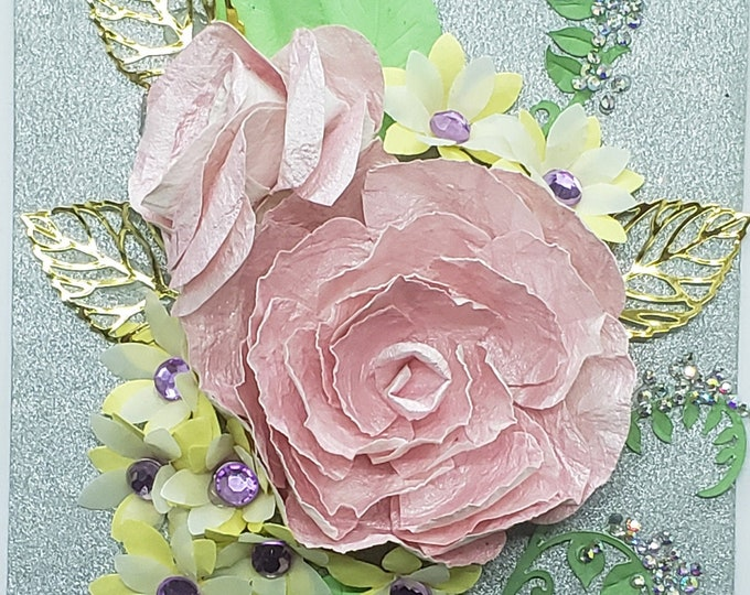 Handmade Pink Rose Card-Bling Card,Embellished Card