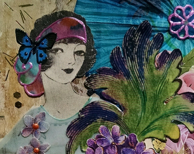 Pretty Purple Lady Greeting Card- Embellished,Tulips, Butterfly, Violets, Flapper, Flowers, Blue, Purple Glamour,