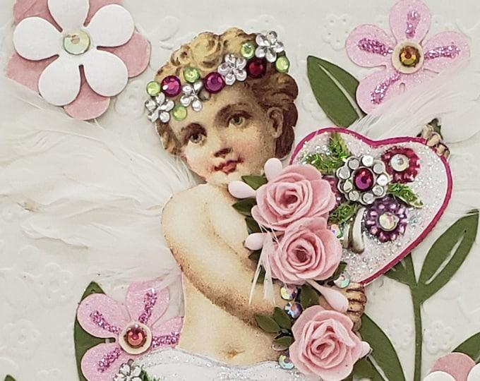 Handmade Paper Cherub Card, Paper Roses Card, Bling Engagement