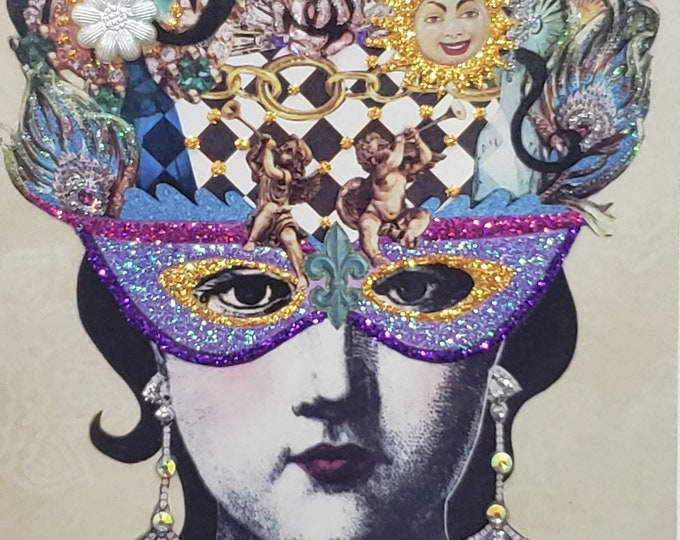 Mardi Gras Card, Mardi Gras Hat Card, Masquerade Card