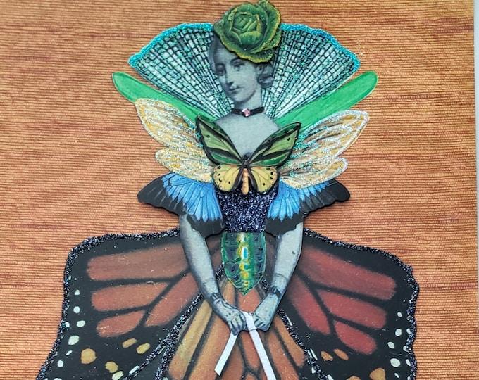 Mary Monarch 3D Art Print-Butterfly,Cricket,Monarch Butterfly,Cicada,Nature,Fancy,Embellished,Fashion,Stylist,Fashion Design,Fashionista
