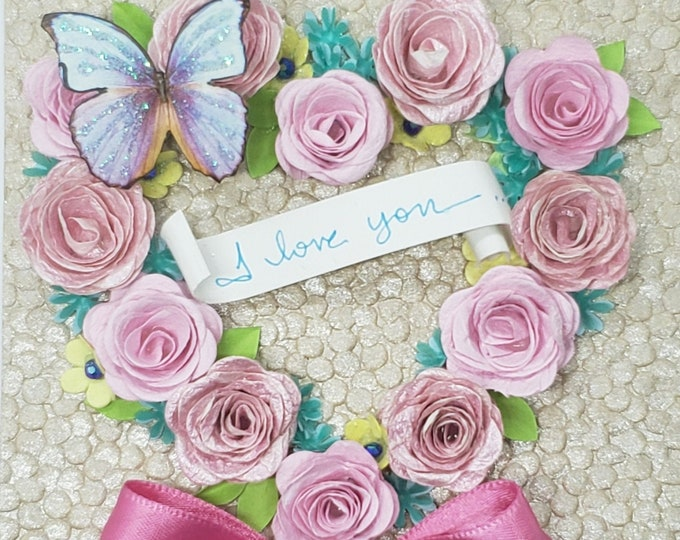 Handmade Pink Roses Wreath Card,Fancy Valentine, Handmade Valentine