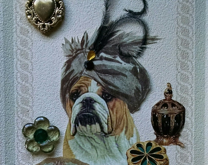 English Bulldog Card,Beautician Card,Bulldog for Framing