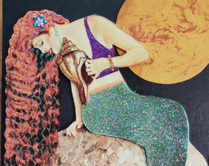 Red Haired Mermaid 3D Art Print-Handmade, Glitter Embellished Mermaid for framing, Recycled Paper Wall Art, Unique Gifts for Her