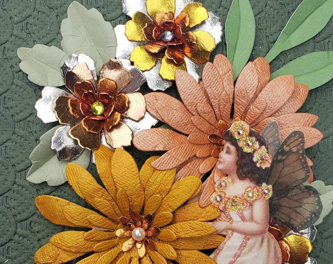 Handmade Fall Flowers Fairy Card,Elegant card,wedding card,handcrafted card,paper flowers,autumn birthday card,anniversary card