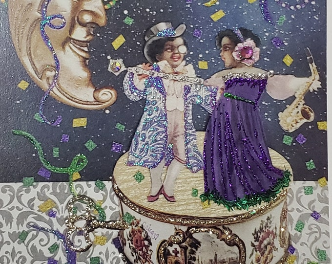Mardi Gras Card, Music Box Card, Celebration Card