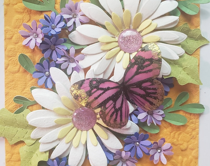 Handmade Paper Daisies Card, Butterfly Card, Paper Spring Flowers