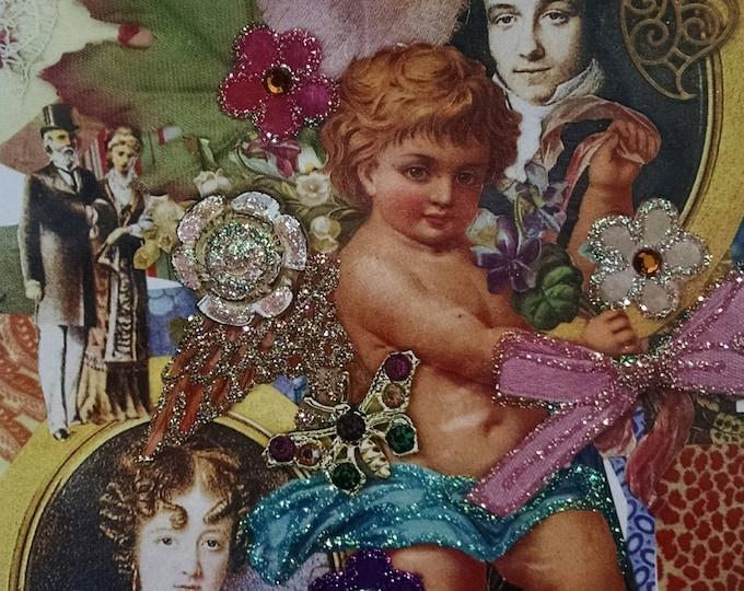 Victorian Anniversary Card- Golden Anniversary, cherub, cupid, couple, romance, love, romantic,vintage, fancy, Valentine, glitter