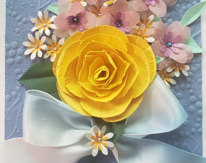 Handmade Yellow Rose Card, Bling Card, Paper Spring Flowers