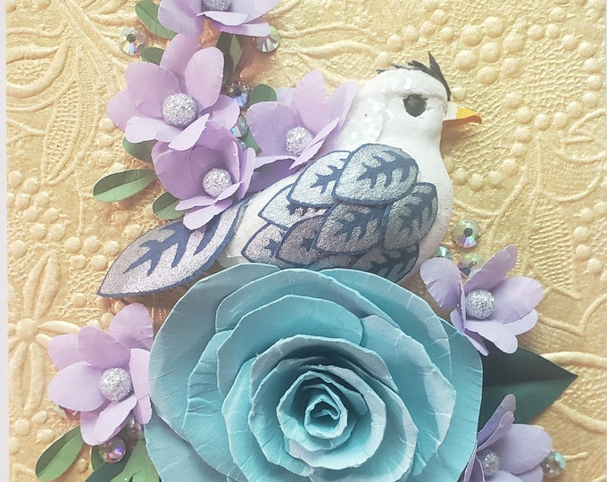 Handmade Blue Paper Rose Card, Bird Card, Paper Spring Flowers