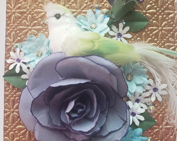 Handmade Purple Paper Rose Card, Bird Card, Paper Spring Flowers
