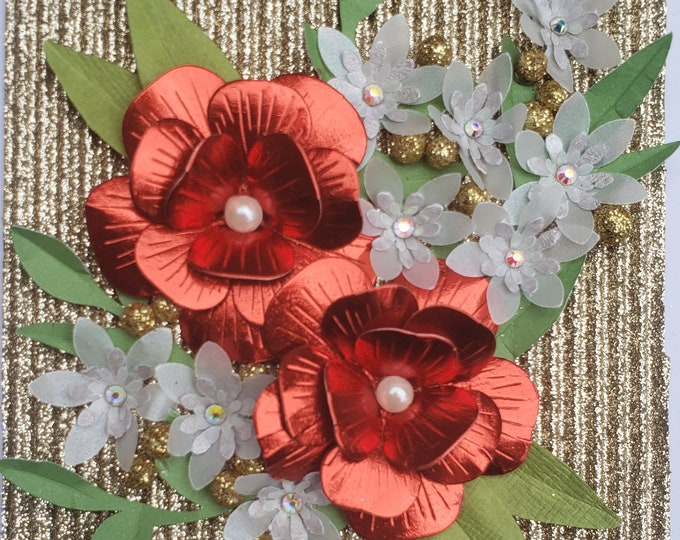Handmade Red Paper Flowers Card,Elegant Card,Special Birthday card