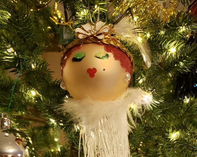 MARGO Handmade Doll Christmas Ornament,Redhead Ornament,White Feathers,OOAK