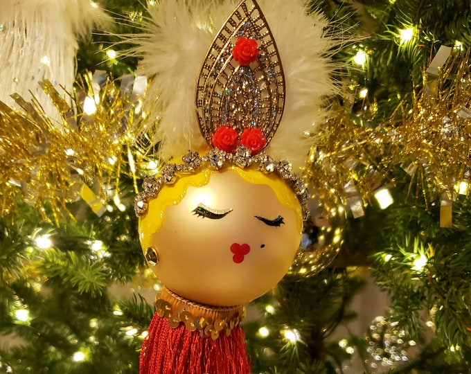 FIFI Blonde Christmas Ornament, Handcrafted,Flapper, OOAK Ornament,Red Ornament