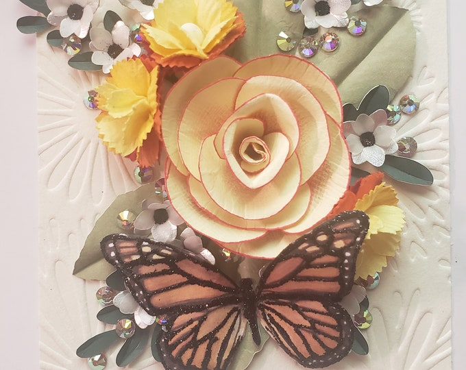 Handmade Cream Rose Card, Monarch Butterfly Card, Luxury Mother's Day