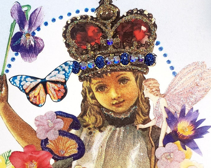 Fairy Princess greeting Card- Fancy, Fairies, Crown, Flowers, Queen