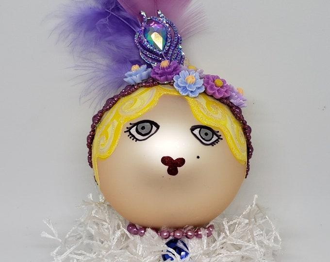 BEBE Handmade Purple Flapper Christmas Ornament, Handcrafted OOAK Ornament,Purple Christmas Ornament