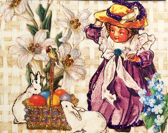 Victorian Girl Easter Basket Card- Bunny,Easter Egg, Vintage, Flowers,Easter Hat,purple,card for her,,dove,forget me nots
