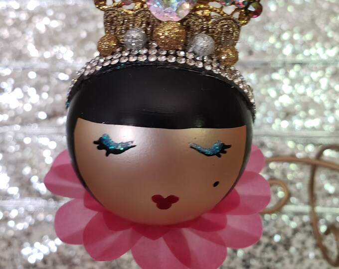Trini Handmade Pink Flapper Christmas Ornament, Handcrafted OOAK Ornament,Pink Christmas Ornament