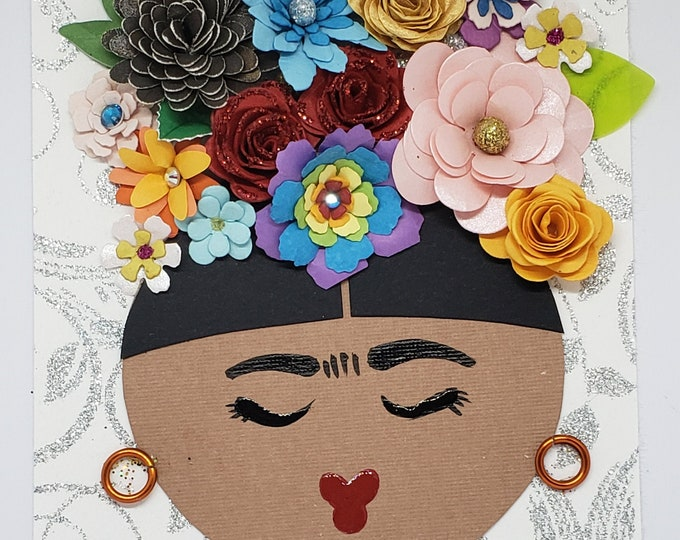 Handmade Frida Kahlo Card,Card for Framing,Paper Flower Card,Frida